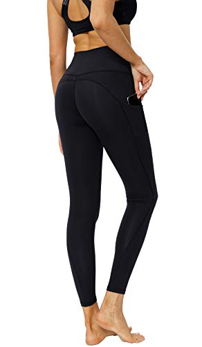 CosCool Yoga Leggings with Pockets Tummy Control Workout Yoga Pants for Women for Girls Black Small