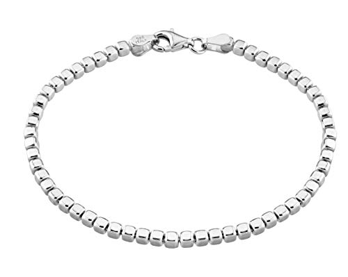 Miabella 925 Sterling Silver Organic Cube Bead Chain Bracelet for Women Men, 6.5, 7, 7.5, 8, 8.5 Inch Handmade in Italy (8.0 Inches (7'-7.25' Wrist Size))