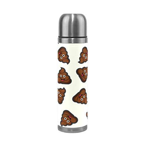 Alinlo Trinkflasche mit süßem Kot-Muster, Edelstahl, Vakuum-Thermosbecher, auslaufsicher, isoliert, für Reisen, Kaffeetasse, 450 ml