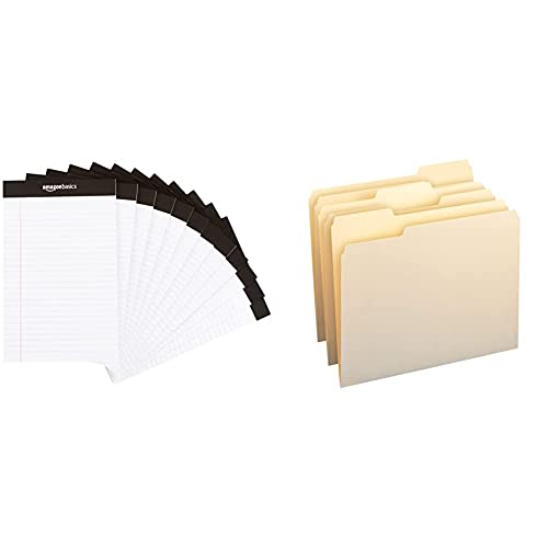 Amazon Basics Narrow Ruled 5 x 8-Inch Writing Pad - White (50 Sheet Paper Pads, 12 pack) & 1/3-Cut Tab, Assorted Positions File Folders, Letter Size, Manila - Pack of 100