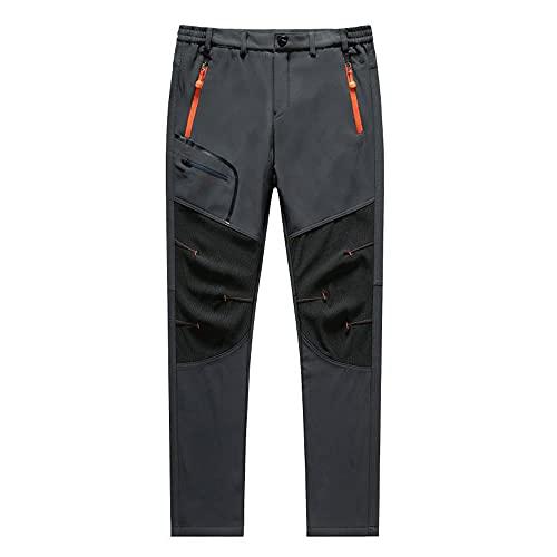 Uomini Oversize Plus size Inverno Softshell Pile Pantaloni All'aperto Trekking Pesce Camp Arrampicata Escursionismo Sci Caldi Viaggio Pantaloni, grigio, XXXL