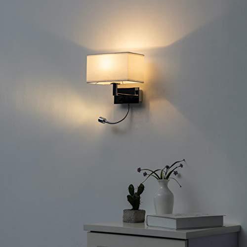 KOSILUM - Applique Liseuse à LED Blanc design métal/tissu - Adonis - Lumière Blanc Chaud Eclairage Salon Chambre Cuisine Couloir - 40 W E27 + 3W LED - 195 lm (LED) - E27 - IP20
