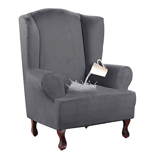 Nati Sesselhusse Wasserdicht Sesselbezug, Stretchhusse für Ohrensessel, Elastisch Husse für Fernsehsessel, Weicher Sesselüberwürfe Sesselschoner Sofabezug Grau