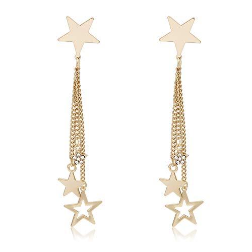 ZHOUBA Pendientes de moda para mujer con diamantes de imitación, cadena larga, colgante en forma de lágrima, NA., NA,