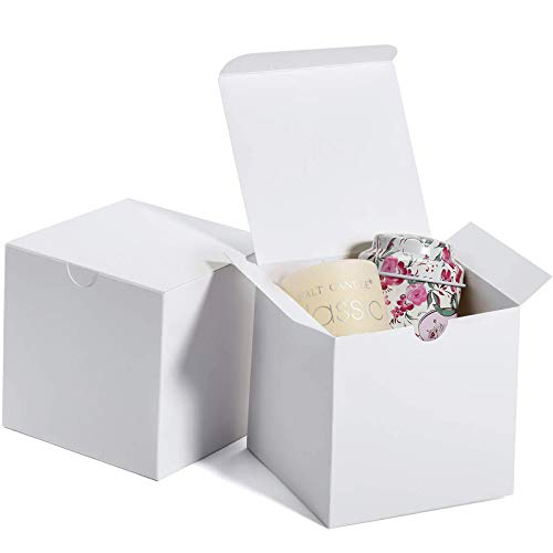 MESHA Cardboard Gift Boxes 50 Pcs-4X4X4in Favor for Bridesmaid Proposal/Birthday/Party/Wedding, Kraft Paper Present Packaging Box with Lids, Decorative Gift Wrap Boxes Bulk for Crafting/Cupcake -White