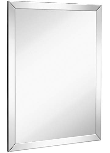 Large Flat Framed Wall Mirror with 2 Inch Edge Beveled Mirror Frame -