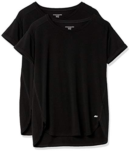 Amazon Essentials Studio Relaxed-fit Lightweight Crewneck T-Shirt Camiseta, Paquete de 2 Negro/Negro, L