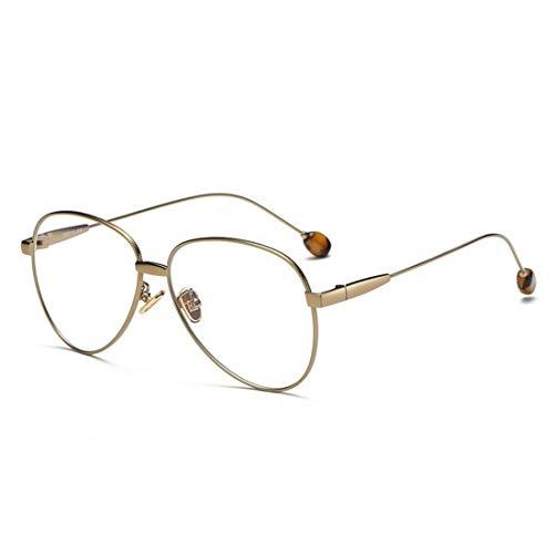 Ovesuxle Große Brillenmänner der Anti-blauen Hellen Brille und Frauenbrillen gestalten Computergläser (Color : Brass)