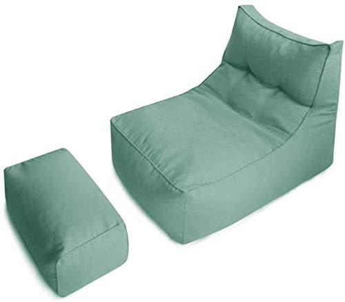 LHY- Sac Confortable Bean Chaise avec Repose-Pieds Lazy Canapé Chaise Amovible Salon Rafraîchissez Fit Jeu géant Lounge Chair Doux (Color : Jasper)