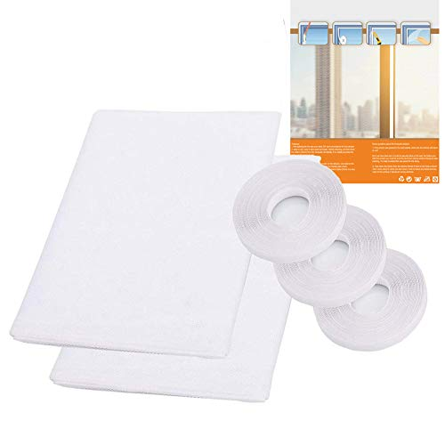 2 Pack Mosquito Net for Windows, PHOGARY [Upgrade] Fly Window Screen Mesh Insect Netting 1.5m x 2m Bug Bee Mosquito Protector with 3 Rolls Self-Adhesive Tapes [10mm Wide] White