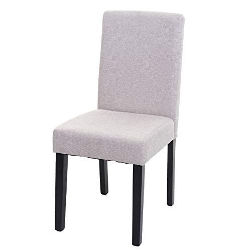 Mendler Esszimmerstuhl Littau, Küchenstuhl Stuhl, Stoff/Textil - Creme-beige, dunkle Beine