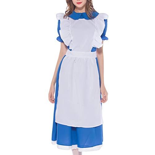 MAYOGO Trachtenkleid Dirndl Damen 3 TLG, Kleid, Schürze, Haarschmuck, Mini Bayerische Kleidung für Oktoberfest Damen, Kurzarm Blau Cosplay Kleidung