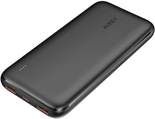 モバイルバッテリー AUKEY 大容量 10000mAh 軽量 小型 18W PD & Quick …
