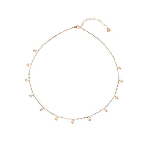 Andy & C Collar Mujer de Acero Inoxidable Estrellas Collar de Chicas de Oro y Plata de Regalo de Mama