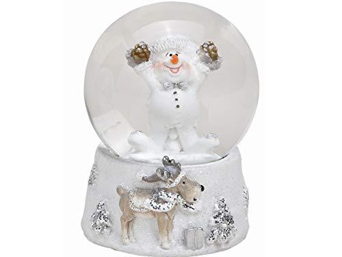 meindekoartikel Schneekugel Schneemann mit Motiv Sockel mit schönen Details aus Poly und Glas - Winterdeko - tolles Mitbringsel (weiß) (mit Tannenzapfen, Höhe 6 cm)