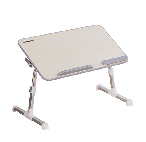 Portable Laptop Table by Superjare, Foldable and Durable Design Stand Desk, Adjustable Angle and Height for Bed Couch Floor Desk, Notebook Holder, Breakfast Tray - Beige