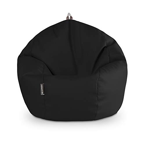 HAPPERS Puff Pelota Polipiel Interior Negro