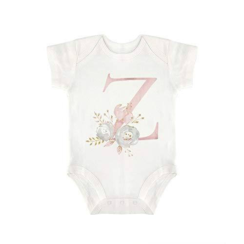 DKISEE Milu921 - Body de manga corta para bebé, diseño de flores con letra Z, color rosa