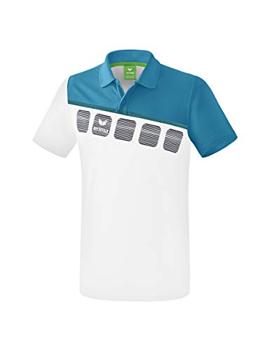 Erima Herren 5-C Poloshirt, weiß/Oriental b, XXL