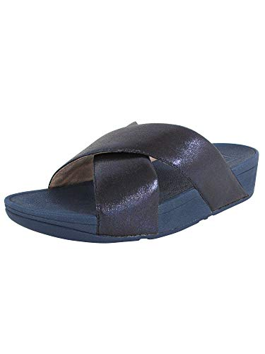 FitFlop Womens Lulu Cross Glitz Slide Sandal Shoes, Midnight Navy, US 9