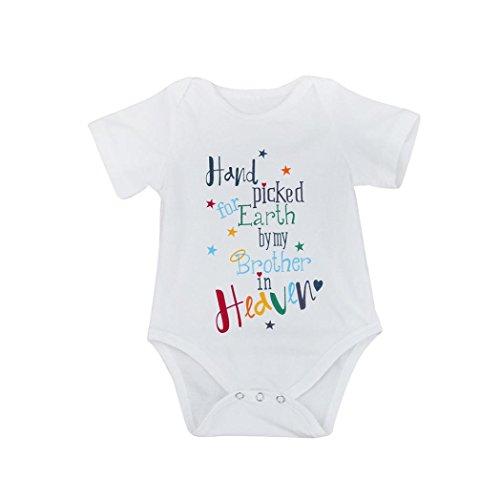 Hirolan Säugling Baby Brief Drucken Spielanzug Outfits Kleider (70cm, Weiß)