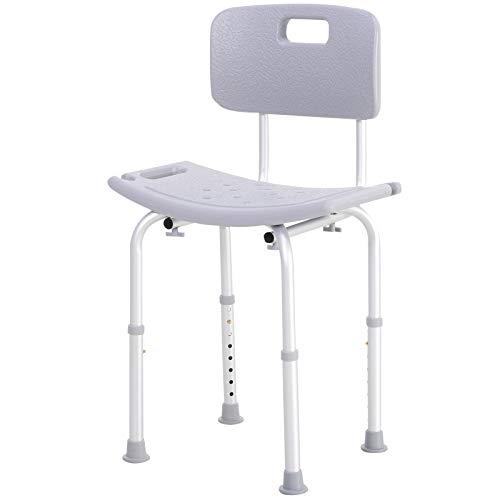 HOMCOM Silla Ducha Aluminio Baño Taburete Regulable + Respaldo Silla Antideslizante WC