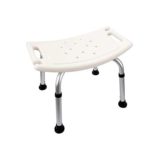 QiXian Silla de Baño, Aleación de Aluminio Antideslizante Anciano Embarazadas Taburete del Baño Reposabrazos Invisible Azul Blanco Altura Ajustable, White