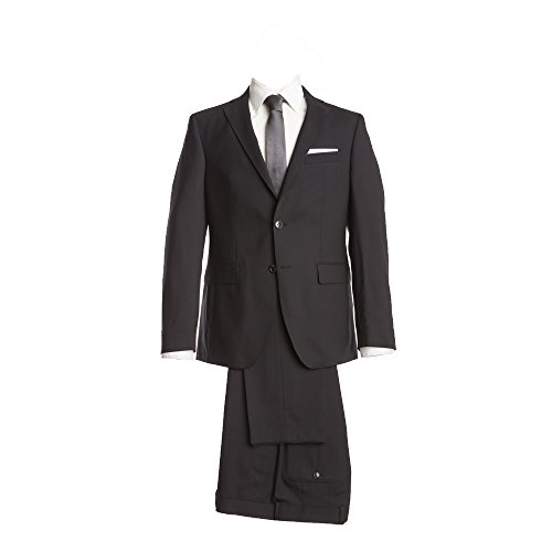 Barutti Anzug Schwarz Uni Tailored Fit taillierter Schnitt 100% Pure Wool Schurwolle Super 100S Sakko Tarso AMF Hose Tosco 64