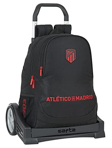 Safta Mochila Espalda Ergonómica con Carro Evolution de Atlético de Madrid Corporativa, 320x160x440 mm, Negro