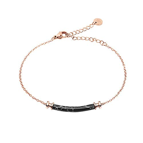 PAUL HEWITT armketting dames roségoud starboard - roestvrij stalen armband dames (verguld) met dames sieraden hanger in marmer-look (zwart)