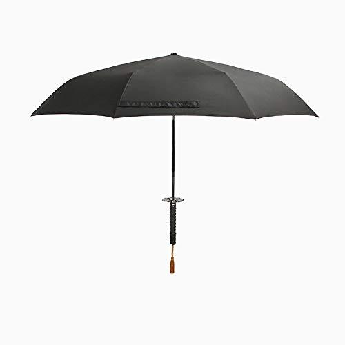 KJWXSGMM Katana schwertförmiger Regenschirm, 37 Zoll großer schwarzer Samurai-Samurai-Ninja, winddichter Ninja-Kompaktschirm, UV-UV-Schutz, Geschäftsgeburtstagsgeschenk...