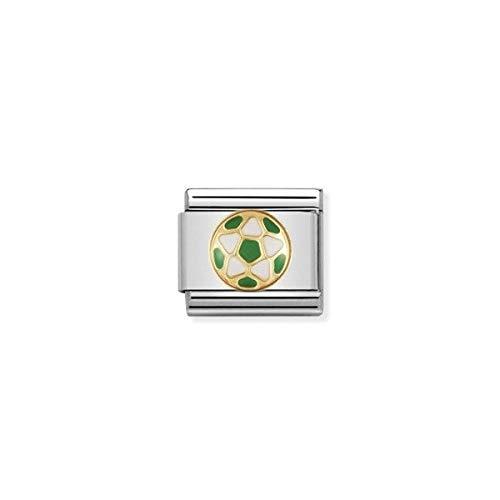 Nomination Composable Classic ITAL. Football Edelstahl, Email und 18K-Gold (Weiss - Gruen Fussball) 030204