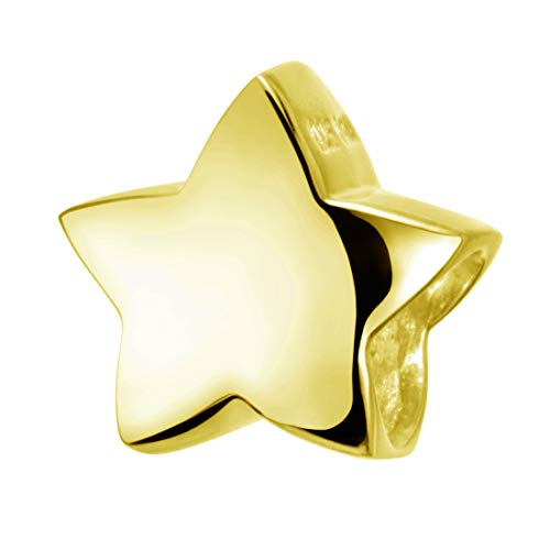 Materia Charms Anhänger Stern gold - Beads goldfarben - Kinder Damen Kettenanhänger gold vergoldet #627