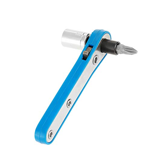 Juego de destornilladores de trinquete, juego de destornilladores 3 en 1, que incluye una punta de destornillador de tubo con llave de trinquete azul