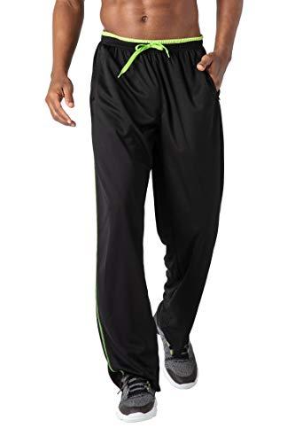 KEFITEVD Fitnesshose Herren Atmungsaktiv Lang Jogginghose Herren Große Größe Stretch Jogger Hose Sommer Sweatpants Dünn Freizeithose Männer Schwarz-Grün L