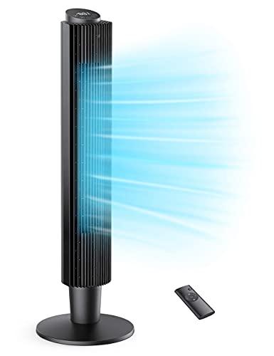 Ventilatore a Torre con Telecomando Timer 12 Ore, Tower Fan 35 Decibel Silenzioso 106 o 91cm, Ventilatore a Colonna Oscillante a 90° con 3 Modi 5 Velocità, per la Casa e l Ufficio