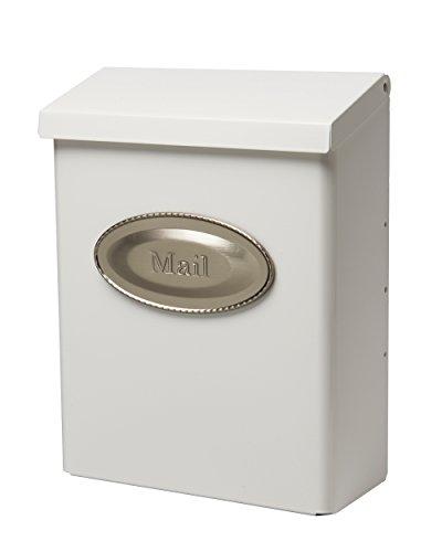 Gibraltar Mailboxes Designer Briefkasten DVKW0000, abschließbar, mittelgroß, verzinkter Stahl, Weiß, Wandmontage, 24,6 x 11,2 x 32 cm