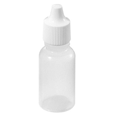 RETYLY 50pcs Vide Plastique Compressible Bouteilles a compte goutte blanc (15ml)