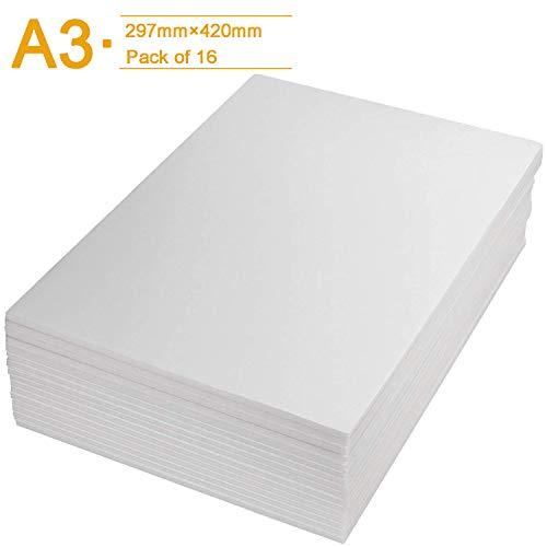Schaumstoffplatten, A3, Weiß, 5 mm, Polystyrol-Schaumstoffplatte (297 × 420 mm), 16 Stück
