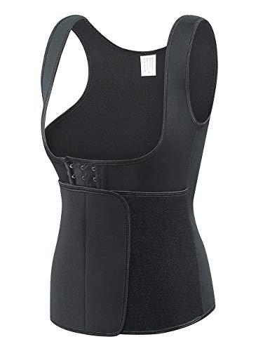 FORENJOY Women Sauna Suit Sweat Vest Neoprene Waist Trainer Corset for Weight Loss Velcro Belt Workout Tank Top(black,XL)