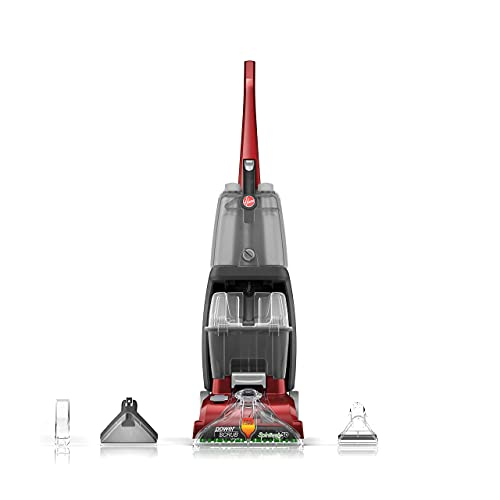 Hoover, Red Power Scrub Deluxe Carpet Cleaner Machine, Upright Shampooer, with Storage Mat, FH50150B (Renewed)