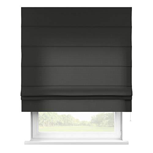Dekoria Raffrollo Padva ohne Bohren Blickdicht Faltvorhang Raffgardine Wohnzimmer Schlafzimmer Kinderzimmer 80 × 170 cm schwarz Raffrollos auf Maß maßanfertigung möglich