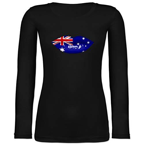 Shirtracer Länder - Lippen Bodypaint Australien - M - Schwarz - 32 - BCTW071 - Langarmshirt Damen