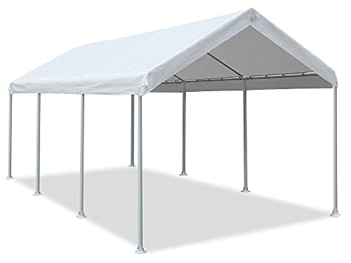 Abba Patio 10 x 20 ft Heavy Duty Carport Car Canopy Garage Boat Shelter Portable Tent for Outdoor Party, Wedding, Birthday, Garden, with 8 Legs Ivory