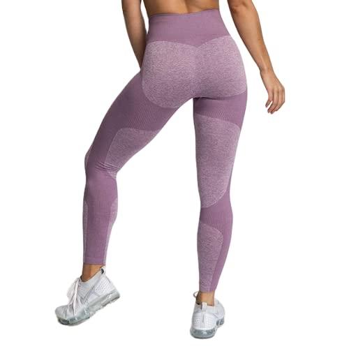QTJY Pantaloni da Yoga Sportivi a Vita Alta Senza Cuciture, Leggings Sportivi a Vita Alta in Cellulite da Palestra Fitness da Donna DL