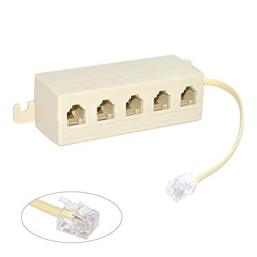 Cablecc, multipresa telefonica 6P4C a 5uscite, sdoppiatore di cavi RJ-11 RJ-12, beige, 1 spina e 5 prese
