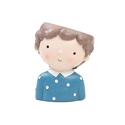 ATATMOUNT Boy Cartoon Resin Planta suculenta Planta en Maceta Contenedor carnoso Maceta Pintura Bonsai Pot Flowerpot Desktop Home Office