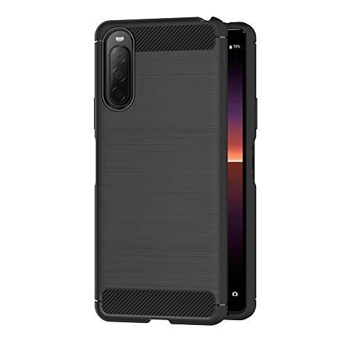 AICEK Hülle Compatible Sony Xperia 10 II Schwarz Silikon Handyhülle für Sony 10 II Schutzhülle Karbon Optik Soft Hülle (6,0 Zoll)