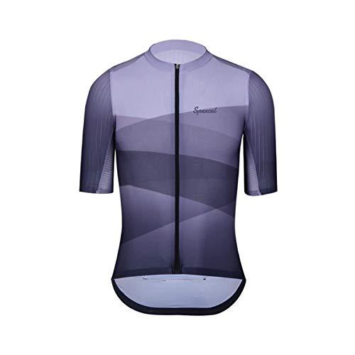 YGDH Nuova PRO Aero Bicicletta Jersey Mens Stradali Maniche Corte da Ciclismo Tessuto Aerodinamica Camicia A Manica E Posteriore Grigio (Size : M)