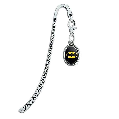 Batman Classic Bat Shield Logo Metal Bookmark Page Marker with Oval Charm